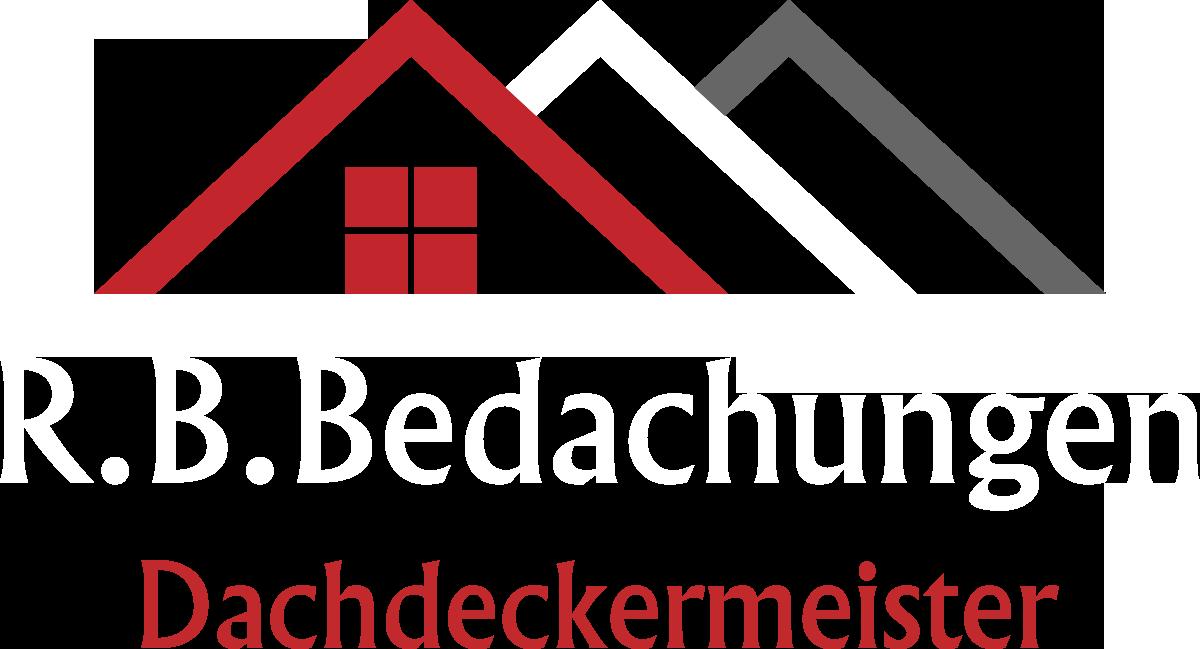 Logo von R.B.Bedachungen mit weißer Schrift